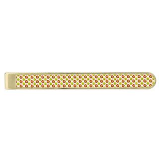 赤くおよび黄色のソフトボールの花模様 ゴールド タイバー