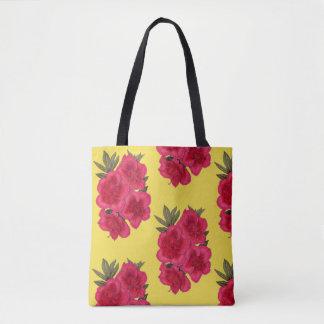 赤くおよび黄色のツツジの花屋のトート トートバッグ