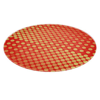 赤くおよび黄色の水玉模様の食品の調製板 カッティングボード