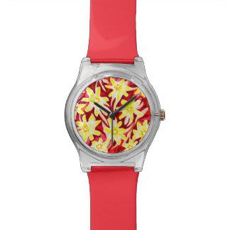 赤くおよび黄色の花の水彩画May28thの腕時計 リストウォッチ