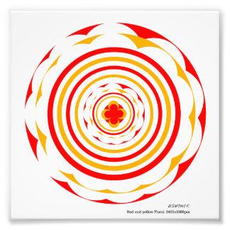 赤くおよび黄色の花のdesign_ack フォトプリント