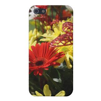 赤くおよび黄色の花柄I iPhone SE/5/5sケース