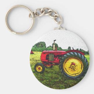 赤くおよび黄色の農場トラクター キーホルダー