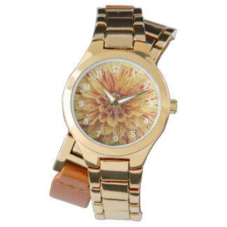 赤くおよび黄色の雑色のダリアの花柄 腕時計