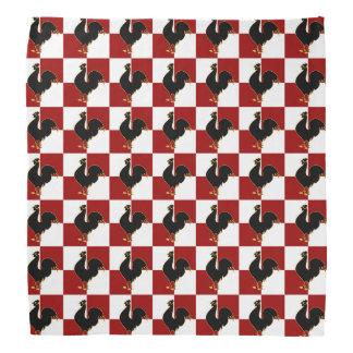 赤くおよび黒いオンドリの鶏パターン バンダナ