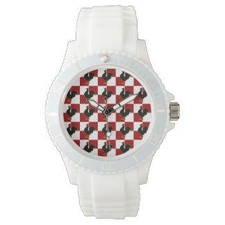 赤くおよび黒いオンドリの鶏パターン 腕時計