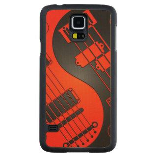赤くおよび黒いギターおよび低音の陰陽 CarvedメープルGalaxy S5スリムケース