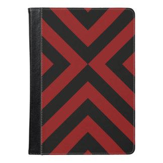 赤くおよび黒いシェブロンの幾何学的なパターン iPad AIRケース