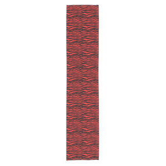 赤くおよび黒いシマウマは縞で飾ります ショートテーブルランナー