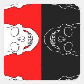 赤くおよび黒いスカル スクエアシール