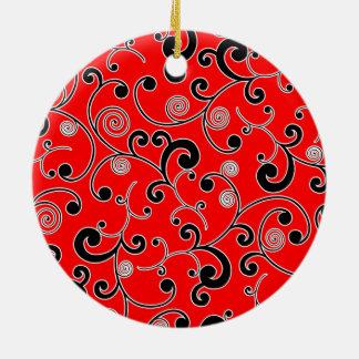 赤くおよび黒いスクロールパターン セラミックオーナメント