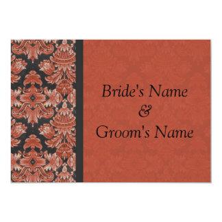 赤くおよび黒いダマスク織の結婚式招待状 カード