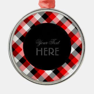 赤くおよび黒いデザイナー格子縞パターン メタルオーナメント