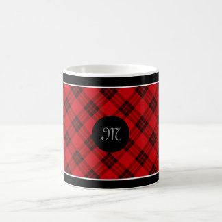 赤くおよび黒いデザイナー格子縞/タータンチェックパターン コーヒーマグカップ