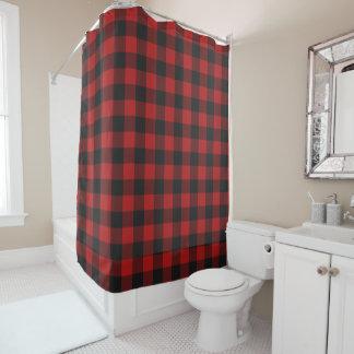 赤くおよび黒いバッファローのギンガムによって点検されるパターン シャワーカーテン