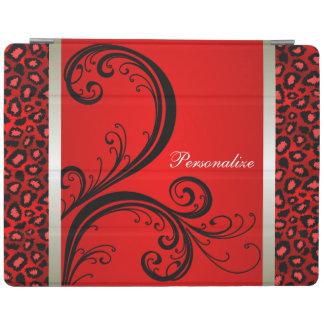 赤くおよび黒いヒョウのアニマルプリント iPadスマートカバー