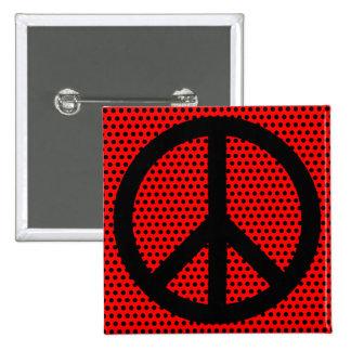 赤くおよび黒いピースマーク 5.1CM 正方形バッジ