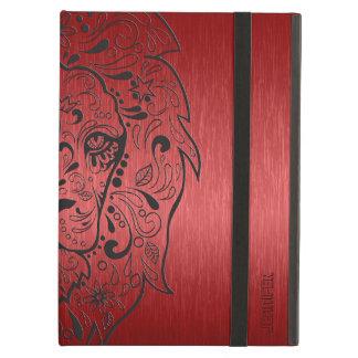 赤くおよび黒いライオンの砂糖のスカル iPad AIRケース
