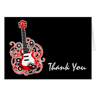 赤くおよび黒いロックスターのギターはノート感謝していしています カード