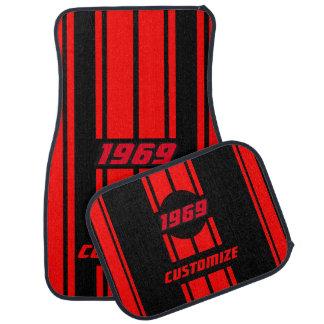 赤くおよび黒い二重競争は|を個人化なります縞で飾ります カーマット
