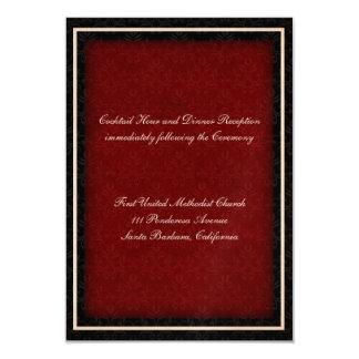 赤くおよび黒い冬の結婚披露宴カード カード