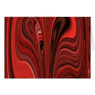 赤くおよび黒い抽象デザインのハートか。 渦巻か。 カード