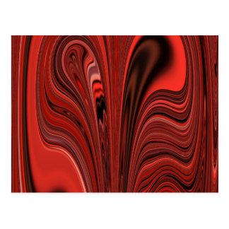 赤くおよび黒い抽象デザインのハートか。 渦巻か。 ポストカード
