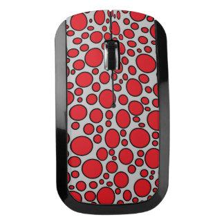 赤くおよび黒い水玉模様の灰色の無線マウス ワイヤレスマウス