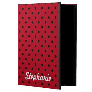 赤くおよび黒い水玉模様パターン POWIS iPad AIR 2 ケース