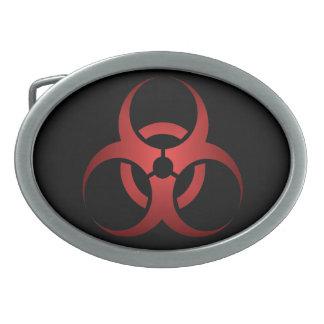 赤くおよび黒い生物学的災害[有害物質]の記号のゾンビ 卵形バックル