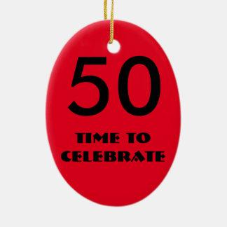 赤くおよび黒い第50誕生日のオーナメント セラミックオーナメント