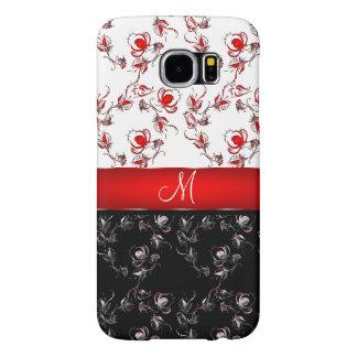 赤くおよび黒い花のモノグラム SAMSUNG GALAXY S6 ケース