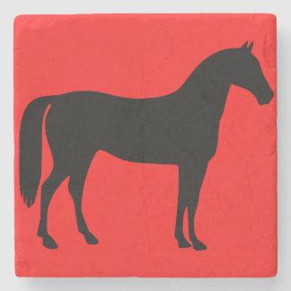 赤くおよび黒い馬のシルエット ストーンコースター