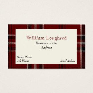 赤くおよび黒いLougheedのスコットランドのタータンチェック格子縞 名刺