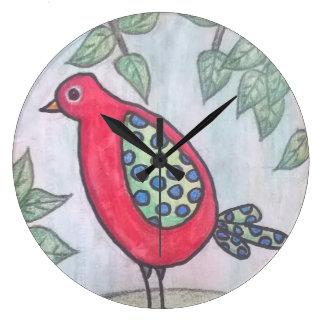 赤くお洒落な鳥の柱時計 ラージ壁時計