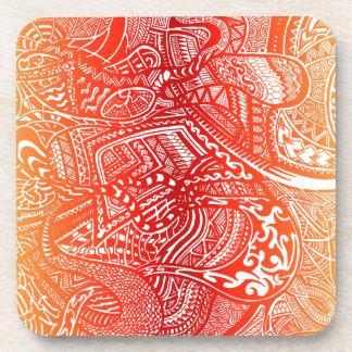 赤くか黄色の日没の手描きの熱狂するな種族の落書き コースター