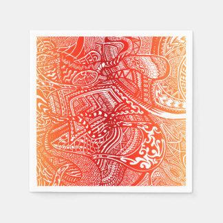 赤くか黄色の日没の手描きの熱狂するな種族の落書き スタンダードカクテルナプキン