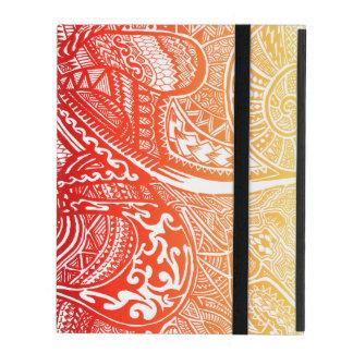 赤くか黄色の日没の手描きの熱狂するな種族の落書き iPad ケース