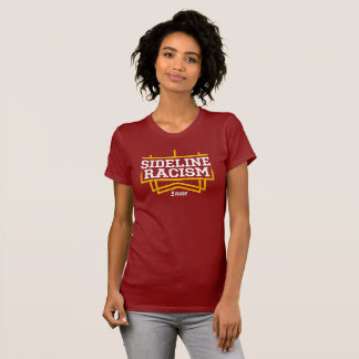 赤くか黄色上昇のサイドラインの人種的優越感のTシャツの女性 Tシャツ