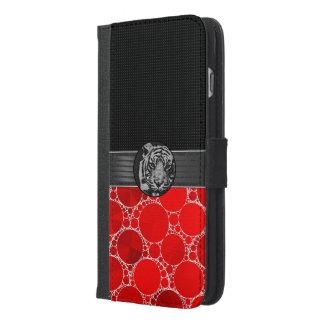 赤くきらきら光るで黒いトラ iPhone 6/6S PLUS ウォレットケース