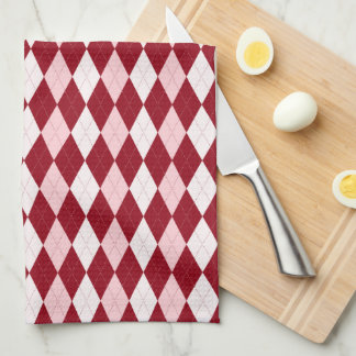 赤くアーガイル柄のな深紅色のピンクの小さいダイヤモンドの形 キッチンタオル