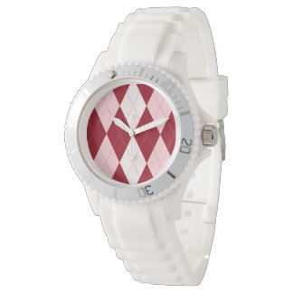 赤くアーガイル柄のな深紅色のピンクの小さいダイヤモンドの形 腕時計