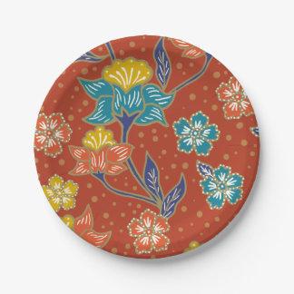 赤くエキゾチックなインドネシアの花のろうけつ染めパターン ペーパープレート