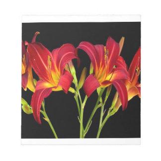 赤くエキゾチックな庭によってはエレガントでロマンチックなギフトが開花します ノートパッド