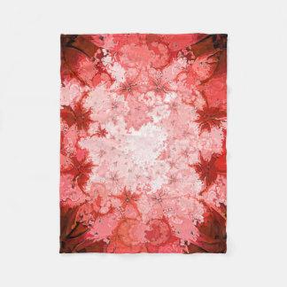 赤くカラフルな万華鏡のように千変万化するパターンの抽象芸術のフラクタルパターン フリースブランケット