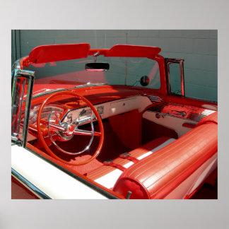 赤くクラシックなヴィンテージ車ポスター ポスター