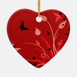 赤くグランジな蝶ハート セラミックオーナメント