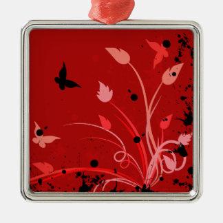 赤くグランジな蝶 メタルオーナメント