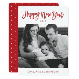 赤くスタイリッシュな原稿の明けましておめでとうの写真カード カード