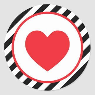 赤くストライプのなハートのバレンタイン ラウンドシール